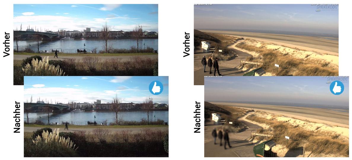 Der Datenschutzfilter für Netzwerkkameras und IP-Cams anschaulich demonstriert.