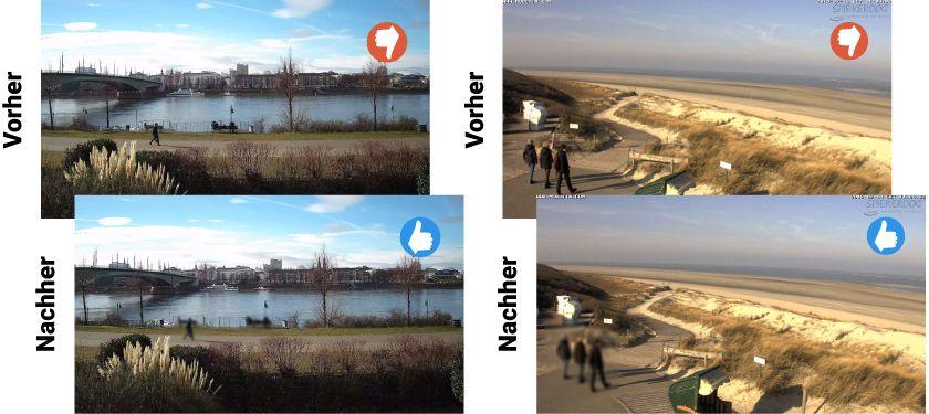Beispiel der automatischen Anonymisierung anhand einer Hikvision IP-Cam und einer Mobotix Kamera.