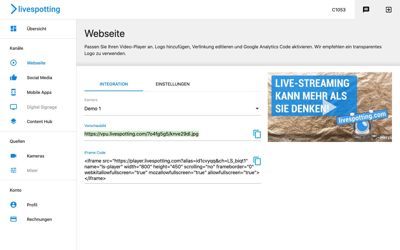 Ein Screenshot der Benutzeroberfläche Control Center des Spezialisten für Livecams, Videomarketing, Videohosting aus Deutschland und der Schweiz livespotting.com. Das Control Center ist die Anlaufstelle um das Webcam Hosting im Tagesgeschäft zu kontrollieren.
