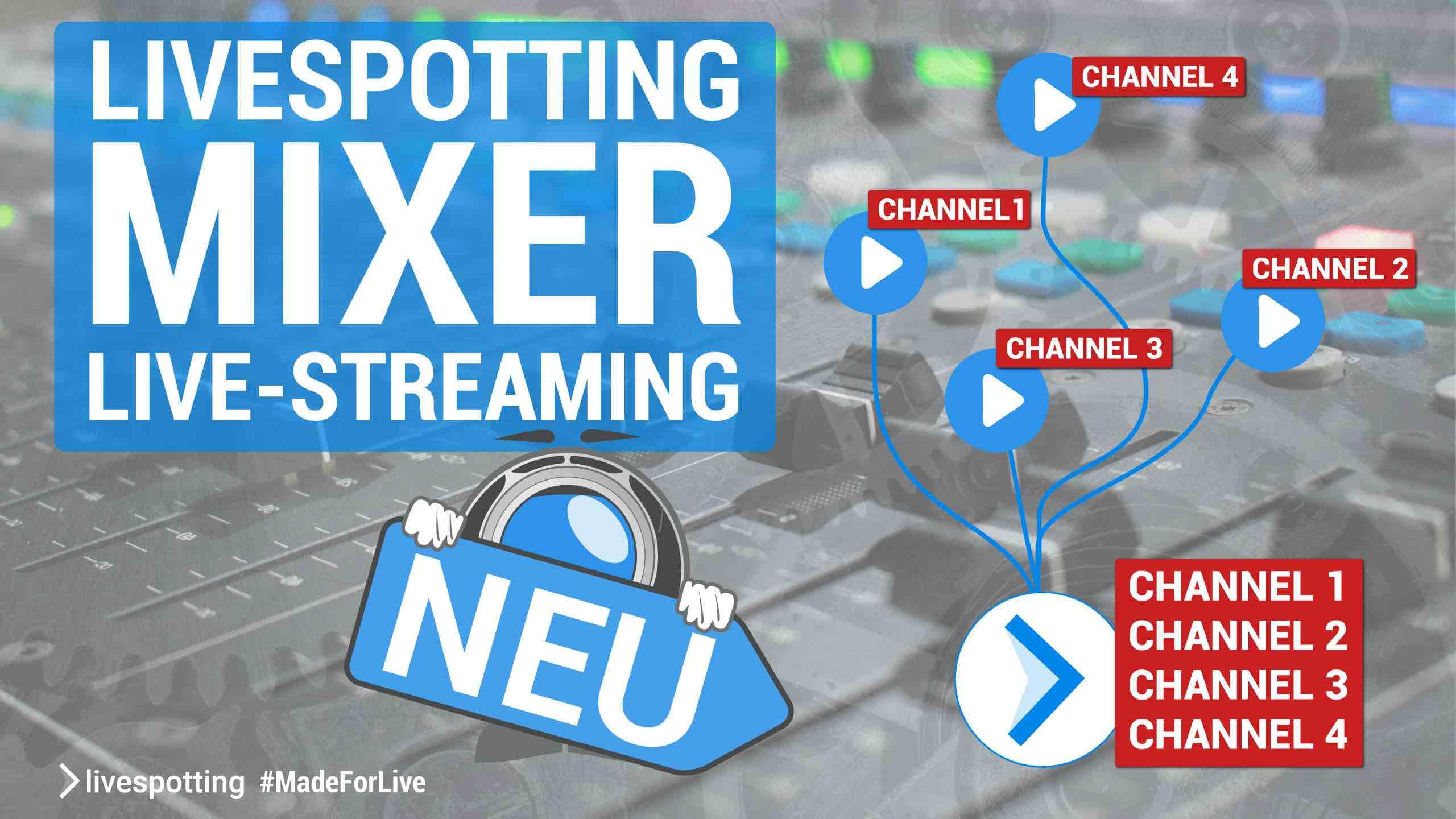 """🍹  Wir präsentieren """"livespotting Mixer"""" als Erweiterung für jedes Streamingpaket."""