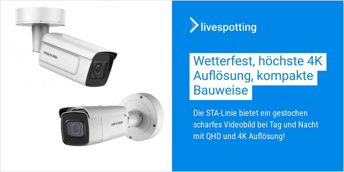 Hikvision Webcams sind Wetterfest mit 4K Auflösung und für Live-Streaming mit livespotting geeignet.