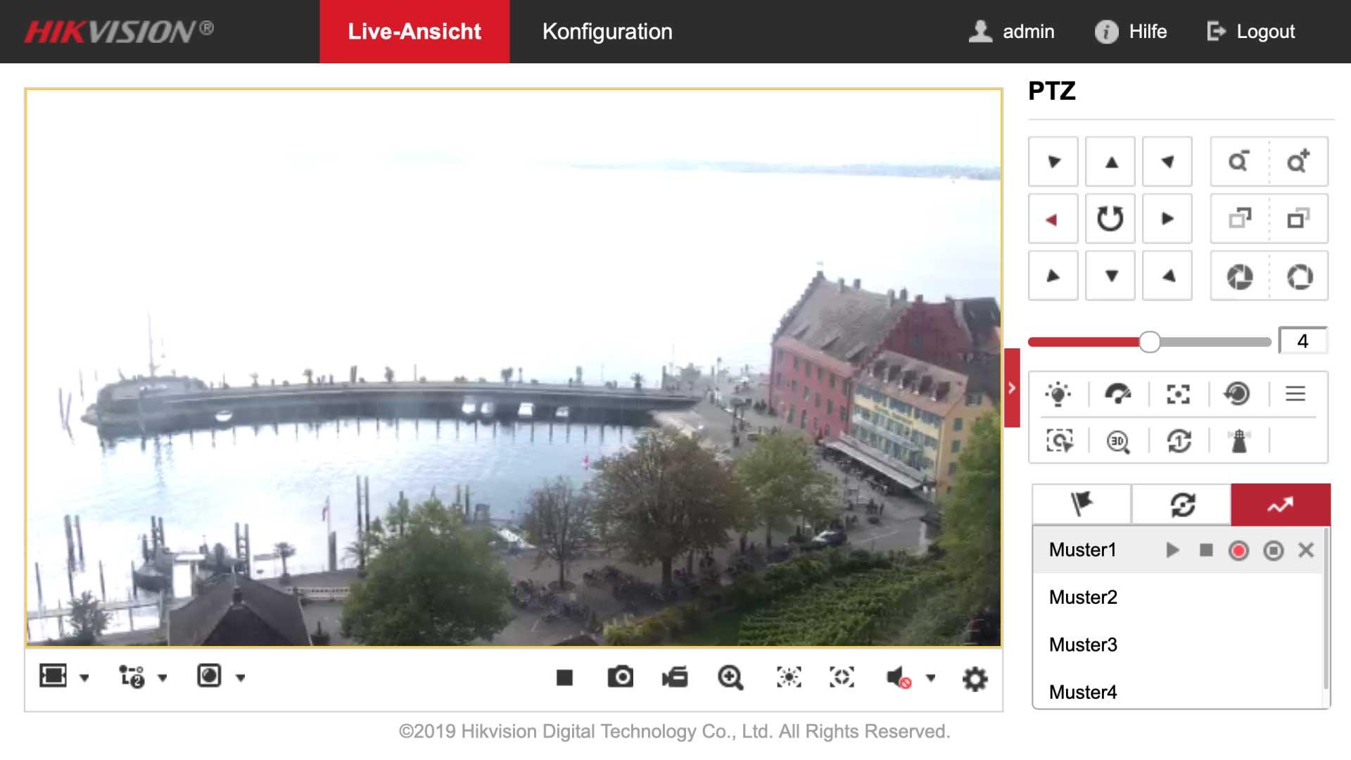 Browseroberfläche zur Steuerung einer Hikvision 4K PTZ-Cam.
